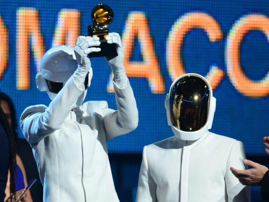 """Daft Punk won the Grammy for Album of the Year for <em>Random Access Memories</em> and for Record of the Year for """"Get Lucky."""""""