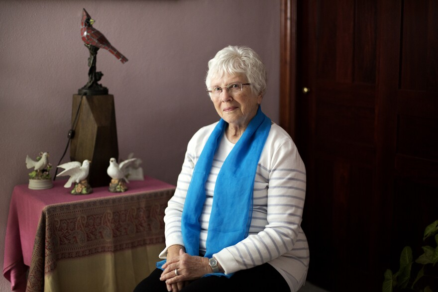 """Reverend Elsie McGrath, photographed in her home on November 14, 2019, said becoming an ordained Catholic priest was """"a monumental step forward in educating people about what the church really ought to be."""""""