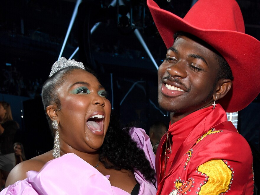 Lizzo and Lil Nas X, both nominees for best new artist at the 2020 Grammys, during the 2019 MTV Video Music Awards on August 26, 2019.