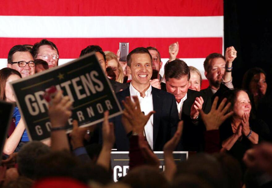 Eric Greitens delivers his victory speech on November 8, 2016.