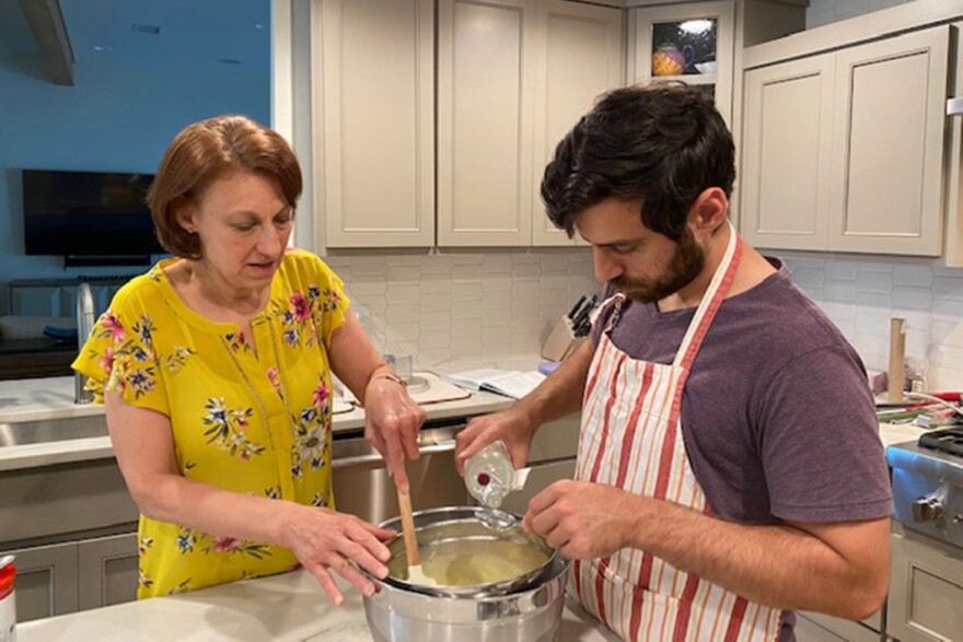 Gregory Maze, a chef, cooks with his mother, Arlene, at home in Austin, Texas. Gregory left Los Angeles in April to shelter with his parents but plans to return to California when the pandemic conditions allow.
