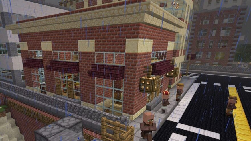 The virtual coffee shop used by Jonathan David on his virtual date in Minecraft.