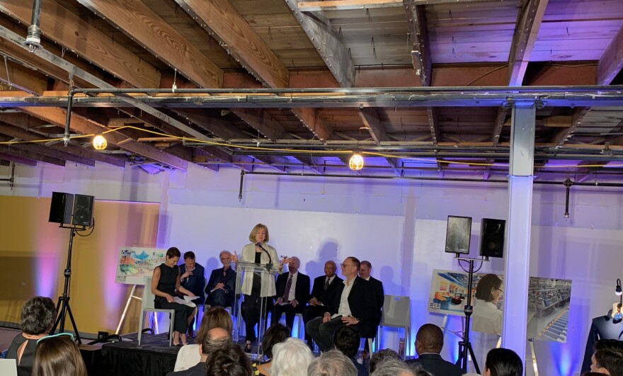 Mayor Lyda Krewson speaks about bringing manufacturing back to St. Louis, May 16, 2019,at Evolution's new facility in Grand Center.