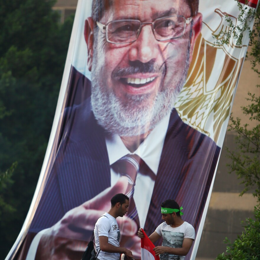 Supporters of ousted Egyptian President Mohammed Morsi, outside Cairo's Rabaa al-Adawiya mosque on Friday.