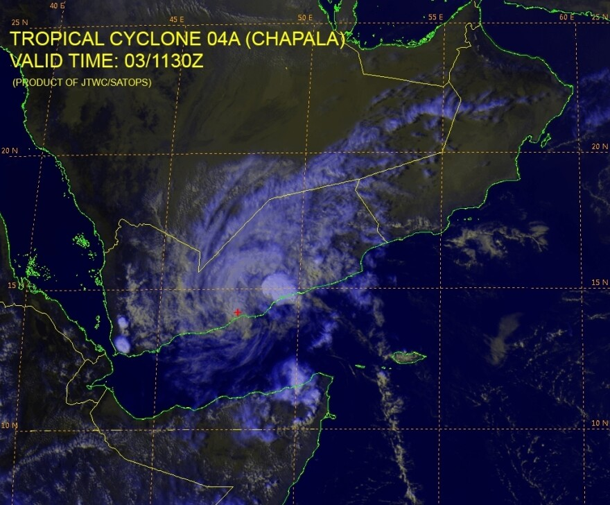 A satellite image showing Tropical Cyclone Chapala after it made landfall in Yemen.