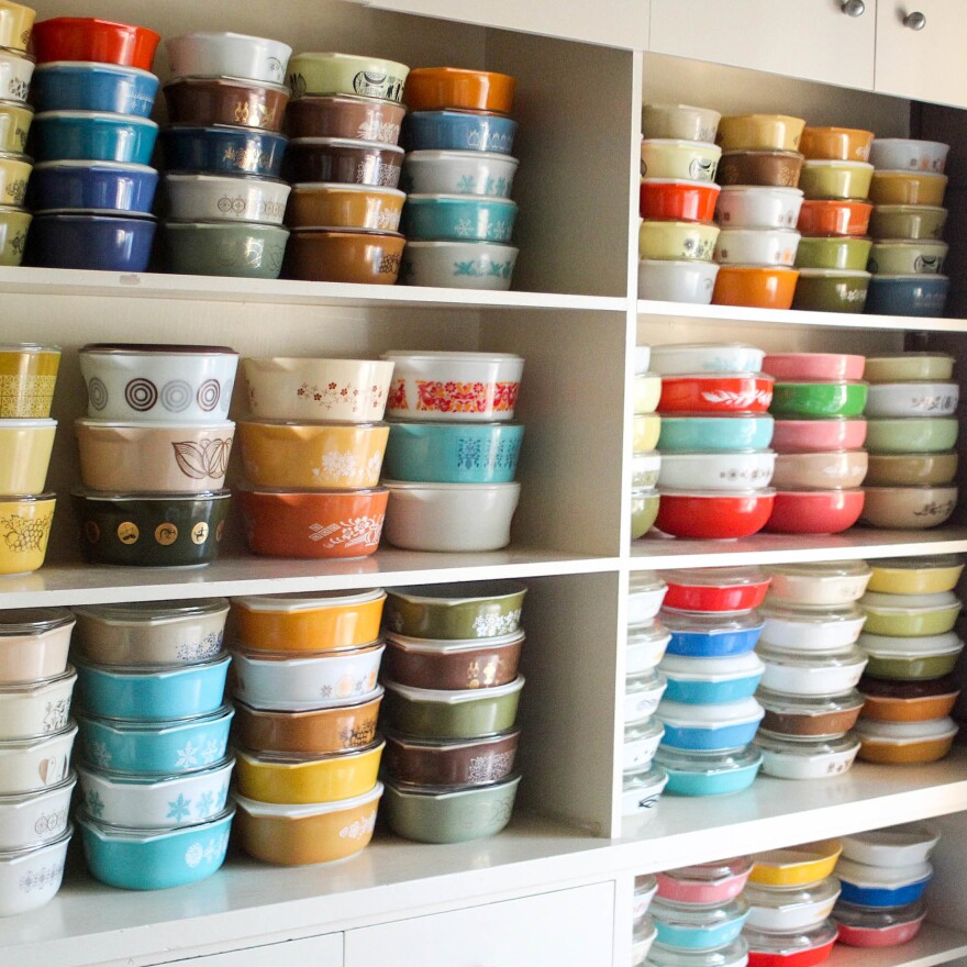 Morgan Mancha has more than 3,000 pieces of Pyrex, enough that she can't possibly keep everything on display despite her four hutches.