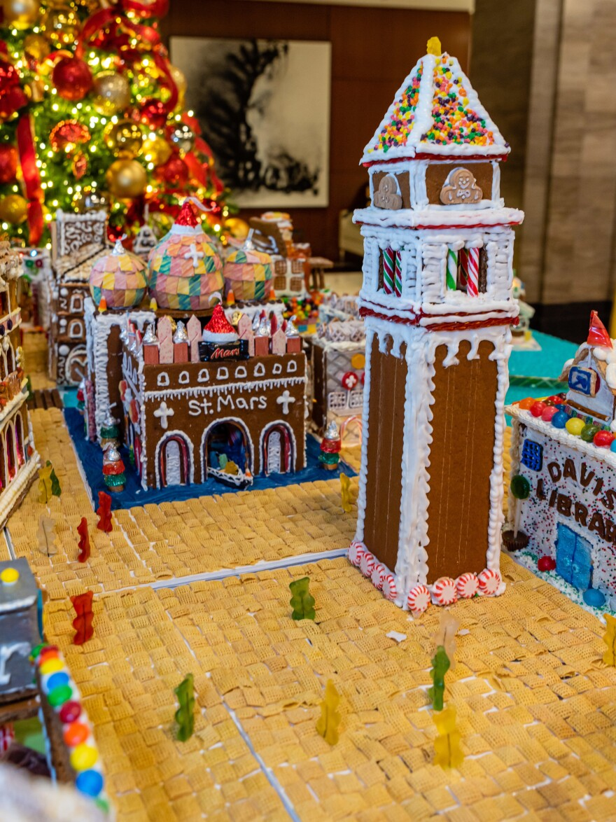 A candy version of Venice's flood-prone Piazza San Marco with St. Mark's basilica and its famous bell tower, the campanile.