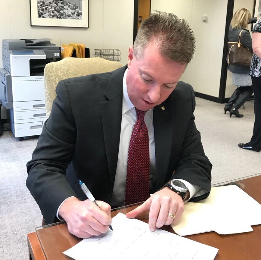 Michael O'Donnell files to run for Missouri House District 95 on Feb. 27 at the secretary of state's office in Jefferson City.
