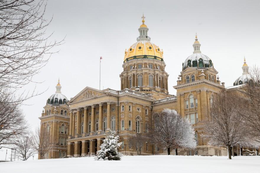 Iowa Capitol with snow