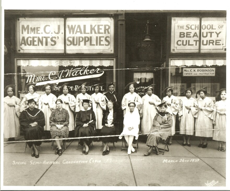 This photo shows the class of 1939 graduates of the Walker Beauty School on Market Street in St. Louis.