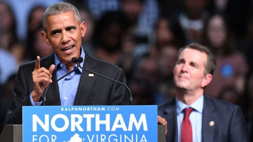 Former President Obama speaks during a campaign rally for Democratic gubernatorial nominee Ralph Northam in Richmond, Va.