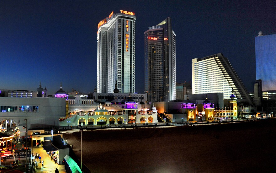 A view of Atlantic City, N.J., in October. Two of the towering casinos in this photo, the Showboat (third tower from left) and the Revel (far right) closed last year.