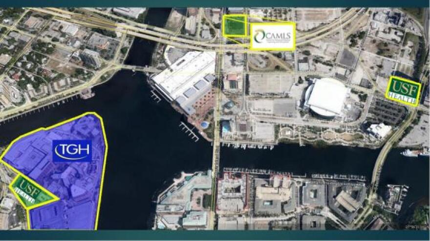 At far right is the proposed downtown location of the USF Morsani College of Medicine. CAMLS is in the center; Tampa General Hospital is on the left