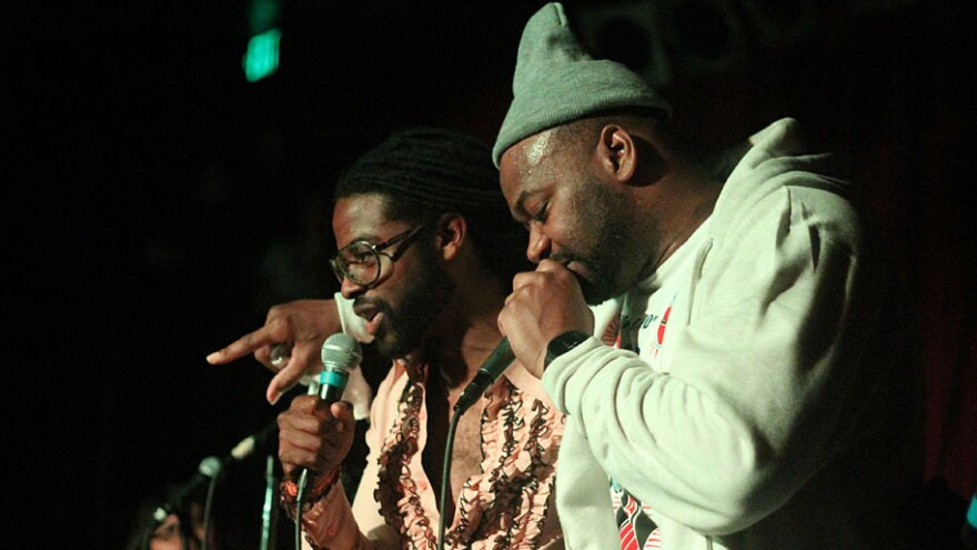 Adrian Younge (left) and Ghostface onstage at the Seattle stop of their tour last week.