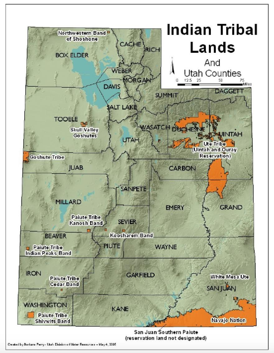 Utah Tribal lands map