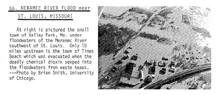 An aerial photograph of flooding in Valley Park is found in a NOAA Storm Data report in December of 1982.