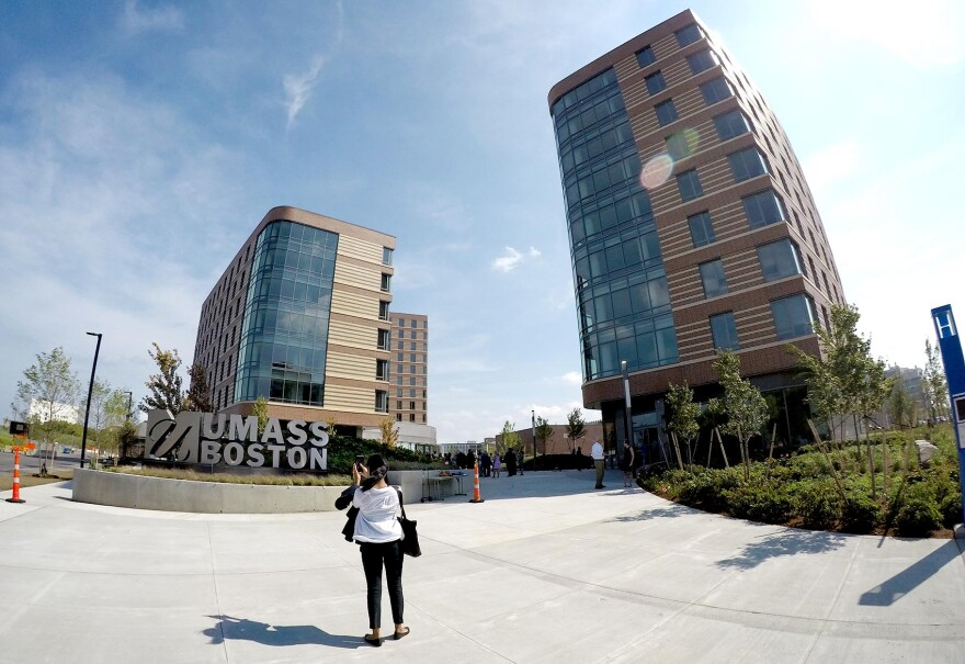 The new UMass Boston dorm buildings. (Robin Lubbock/WBUR)