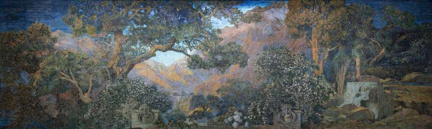 <em>The Dream Garden</em> mural is a glass mosaic made by Tiffany Studios in 1916.