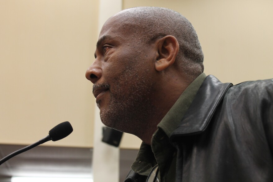 Marvin Davis speaks before the Ferguson City Council on Tuesday.