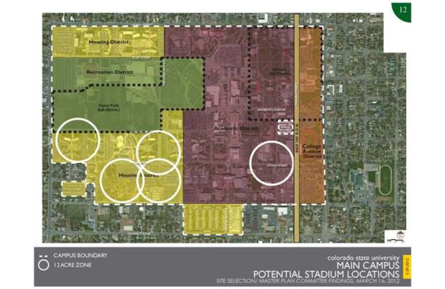 There are five sites for the proposed stadium, four of which are on the southwest side of campus.
