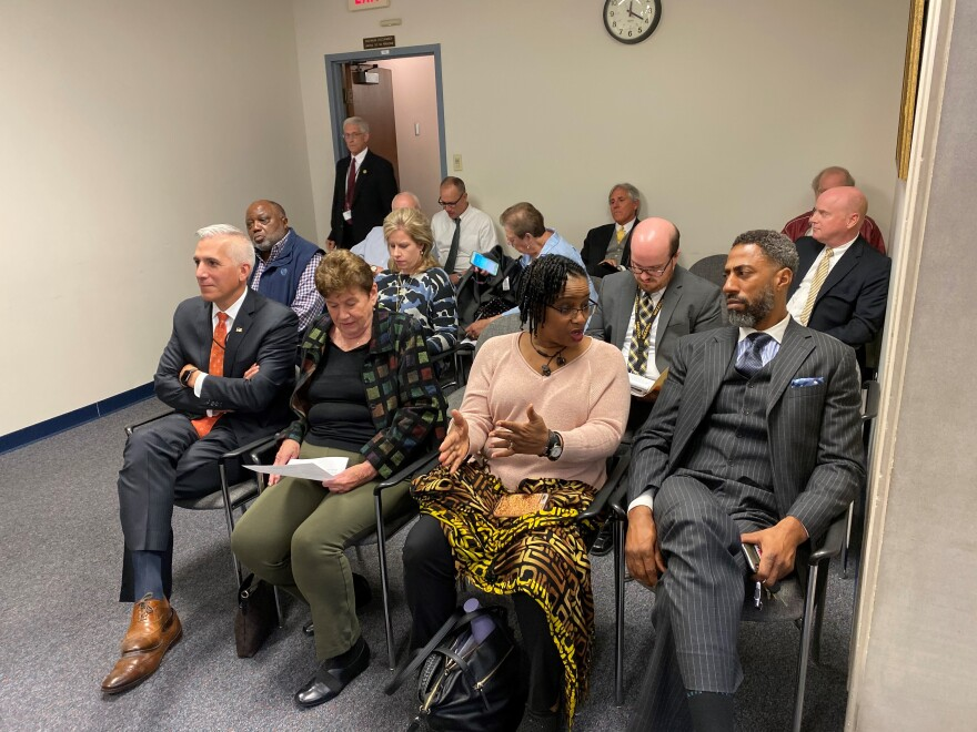 St. Louis County Executive Sam Page's nominees to the Board of Freeholders await a committee hearing on Oct. 15, 2019, in Clayton.