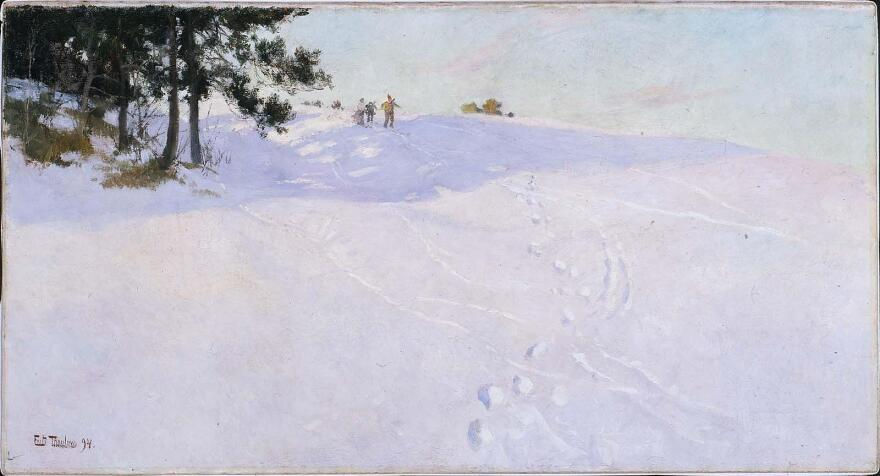 Frits Thaulow, <em>Skiers at the Top of a Snow-covered Hill</em>, 1894