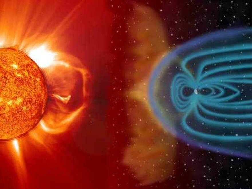 The sun regularly shoots charged particles at the Earth, especially during solar temperature tantrums. Earth's atmosphere and magnetic field deflect most of these particles before they reach us.