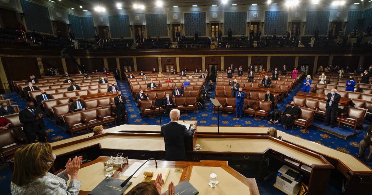 Scenes From Biden's Speech To Congress, A Night Of Many Firsts
