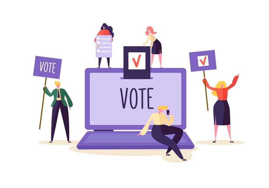 E-voting Concept with Characters Voting Using Laptop via Electronic Internet System. Man and Woman Give Vote into the Ballot Box. Illustration