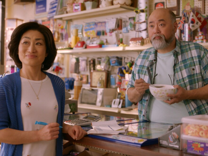 In <em>Kim's Convenience,</em><em> </em>Umma (Jean Yoon, left) and Appa (Paul Sun-Hyung Lee) try to balance running their store and keeping up with their grown children. <em></em>Season 3 of the CBC show debuts this week in Canada. The first two seasons can be streamed on Netflix.