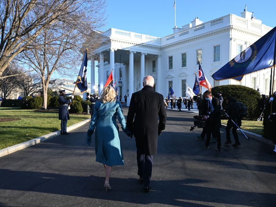 President Joe Biden and first lady Jill Biden arrive at the White House on Jan. 20. The Biden administration has made several changes to the White House website with an eye toward inclusivity and accessibility.