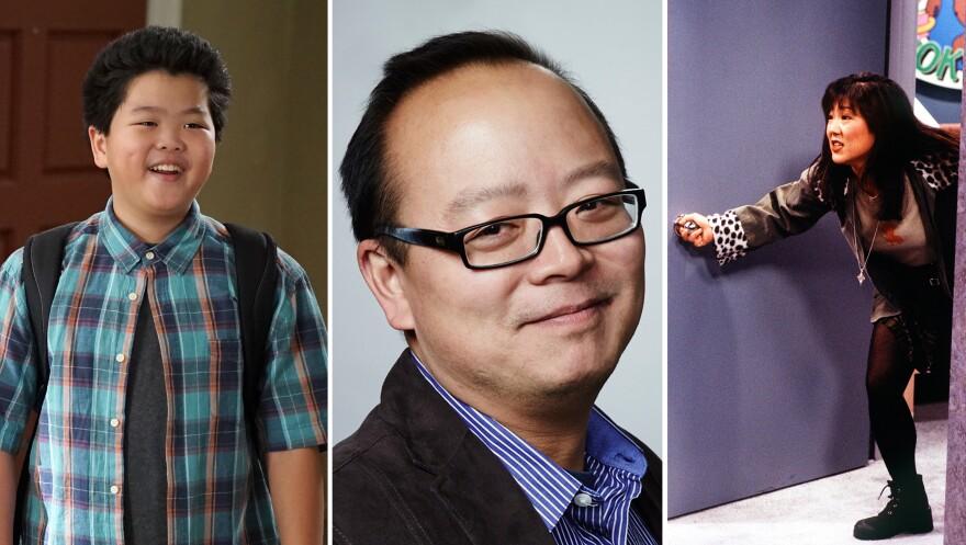 (Left) Hudson Yang in ABC's <em>Fresh Off the Boat</em>. (Center) Critic Jeff Yang. (Right) Margaret Cho in ABC's <em>All American Girl</em>.