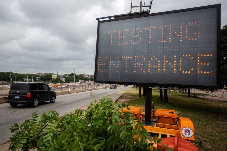 A mobile coronavirus testing site off I-35.