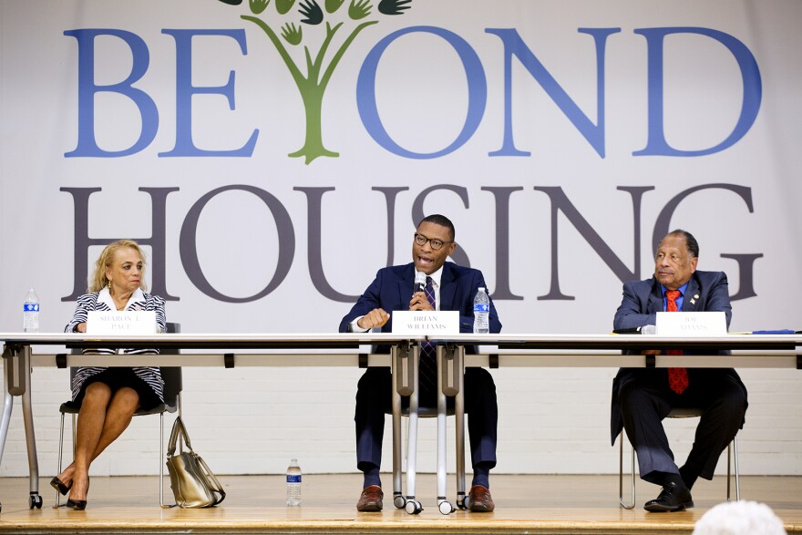 14th District state Senate candidates Sharon Pace, Brian Williams and Joe Adams speak at a candidate forum at Beyond Housing. July 17, 2018
