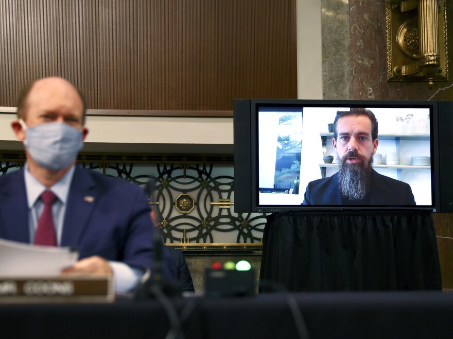 Twitter CEO Jack Dorsey testifies remotely during a Senate Judiciary Committee hearing about how social media companies handled election misinformation.
