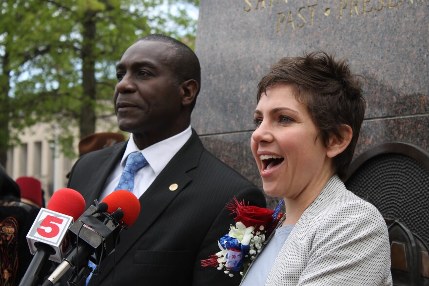 Spencer stands with Board of Aldermen President Lewis Reed last week. The Board often divides itself based on support or opposition to Reed or St. Louis Mayor Francis Slay.