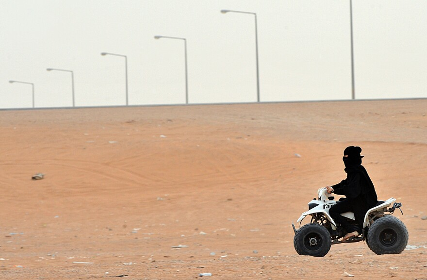A very small step for Saudi women: A few years ago the ban was lifted on driving all-terrain vehicles and motorcycles, as long as the driver is in a recreational area, wearing a full veil and accompanied by a male relative. But it's still illegal for them to drive cars.