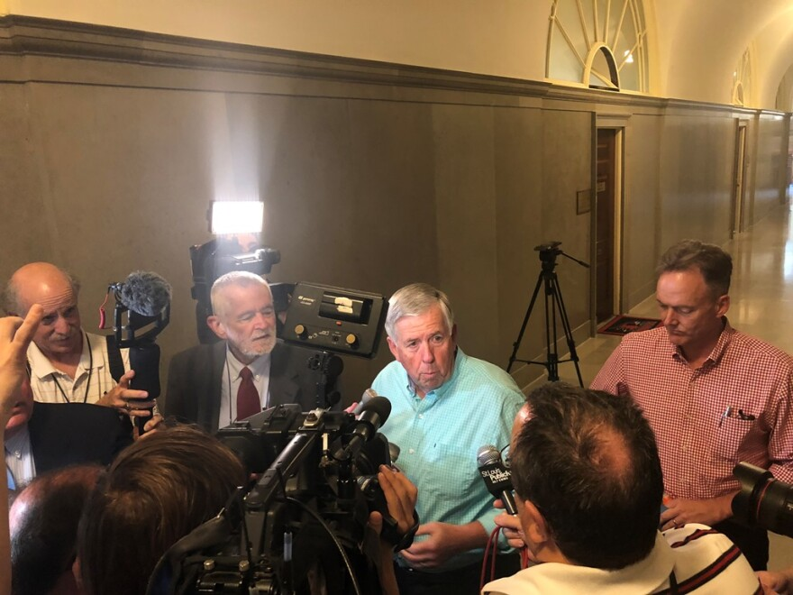 Lt. Gov. Mike Parson speaks briefly to reporters on May 29, 2018. Parson became governor when Eric Greitens resigned on June 1