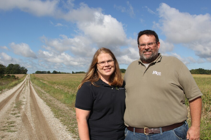 Chariton County farmers Andrea and Mitchell Rice at a demonstration farm.