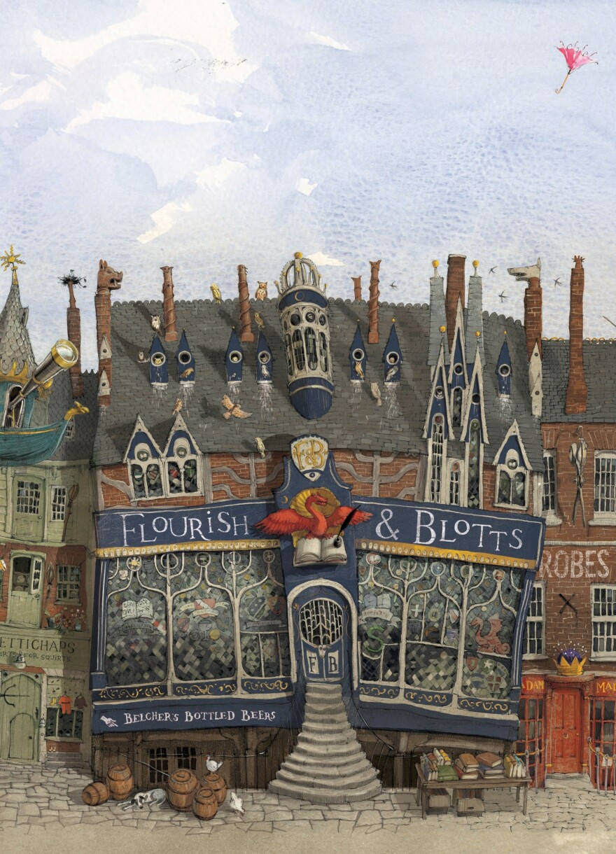 Flourish & Blotts, the Diagon Alley spot where Harry buys his books.