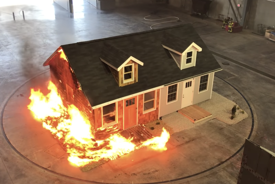 A screenshot of a demonstration video by the Insurance Institute for Business and Home Safety shows the effects of embers on a traditionally-built home compared to one designed for fire resistance, 2019.