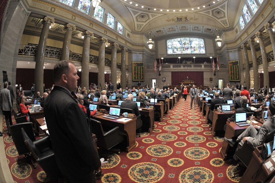 House Majority Leader Rob Vescovo, R-Arnold, looks toward the House dais on May 15, 2020. By the time lawmakers returned to Jefferson City, they were once again working close to one another.
