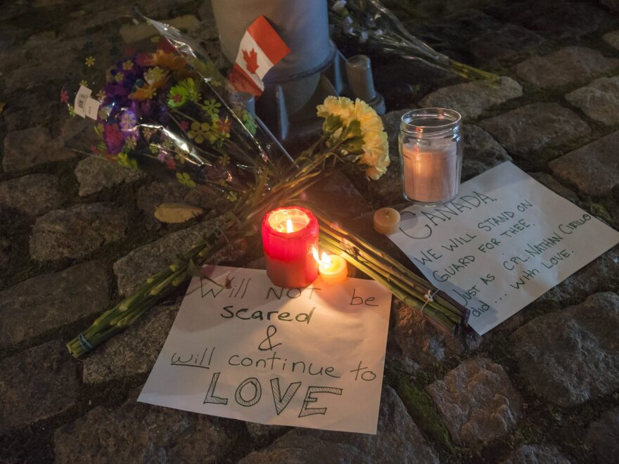 A makeshift memorial sits on a downtown street a block away from Canada's National War Memorial in Ottawa to remember Canadian soldier Nathan Cirillo, who was shot and killed by an assailant Wednesday.