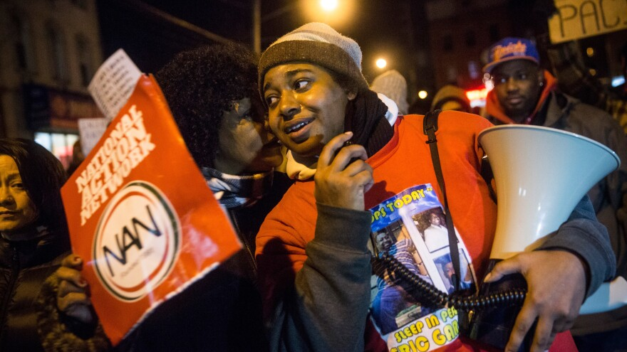 Erica Garner, daughter of Eric Garner, leads a 2014 protest against the grand jury's decision not to indict a police officer involved in the chokehold death of Eric Garner. Erica Garner, now 27, has been hospitalized after a heart attack, her mother tells the <em>New York Times </em>and <em>New York Daily News. </em>