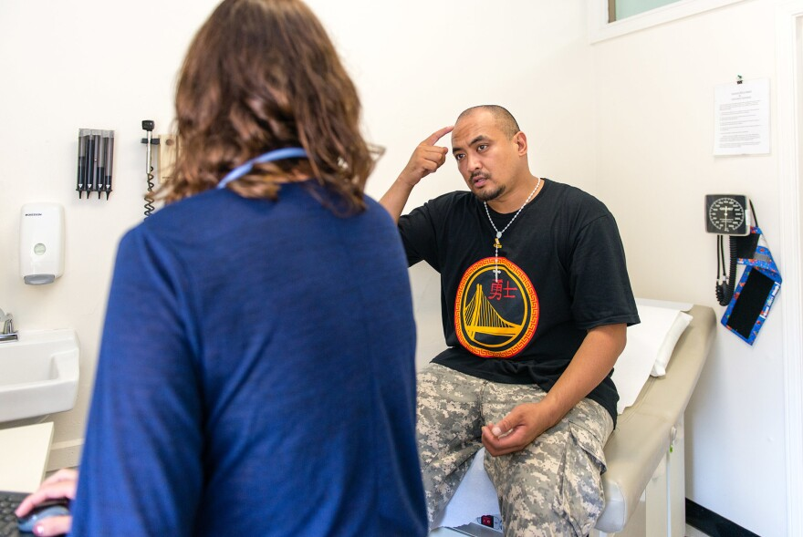 Jeremy Cortez, a patient at the Haight Ashbury Free Medical Clinics, checked in with a doctor there last fall to get treatment for a bug bite on his forehead.