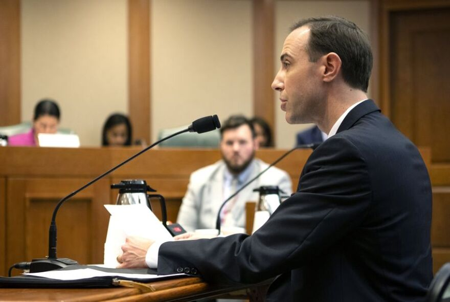 Texas Secretary of State David Whitley at a state Senate Committee on Nominations hearing on Feb. 7, 2019.