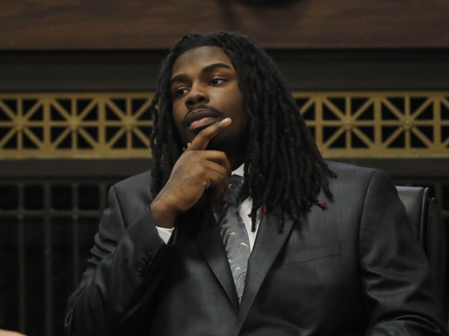Micheail Ward continued to deny his role as the gunman in the fatal shooting of Hadiya Pendleton at a sentencing hearing on Jan. 14. Ward was convicted of first-degree murder and aggravated battery in August.