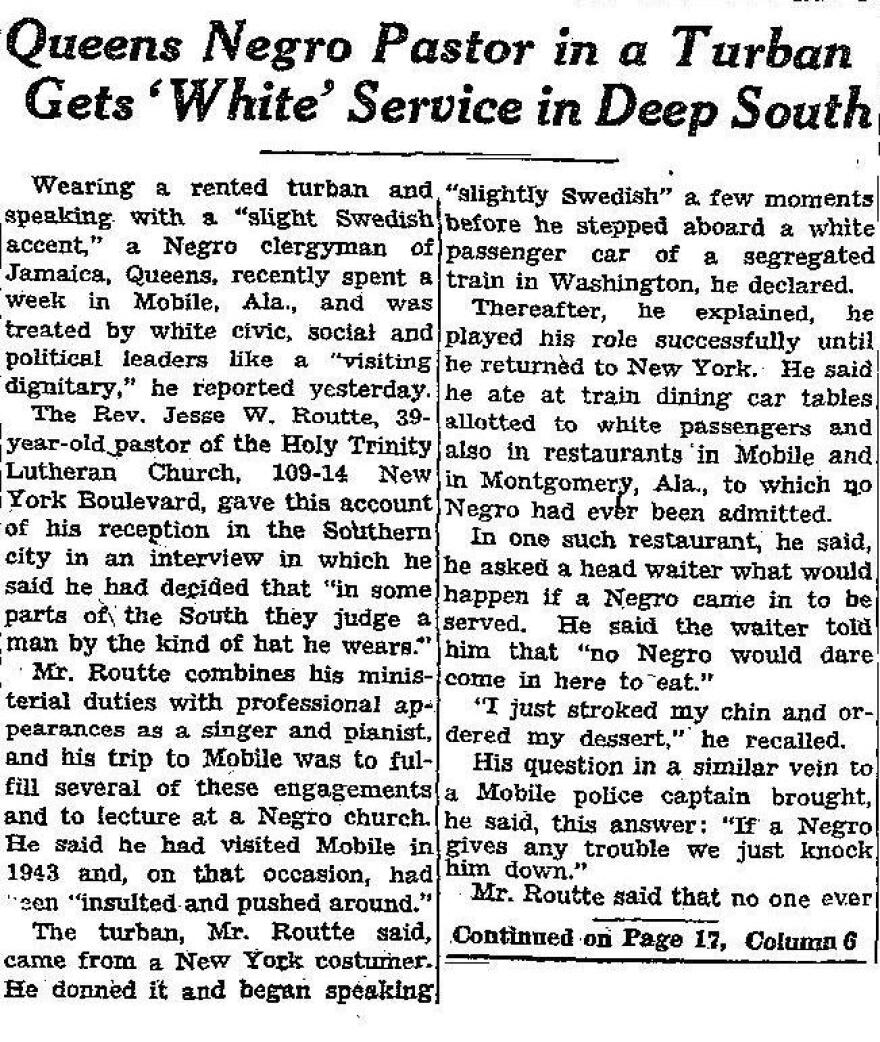 The <em>New York Times</em> picked up the story about Routté's Alabama trip.
