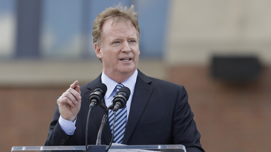 NFL Commissioner Roger Goodell, pictured Saturday in Indianapolis, told club executives Tuesday that the anthem controversy is dividing the league from its fans.