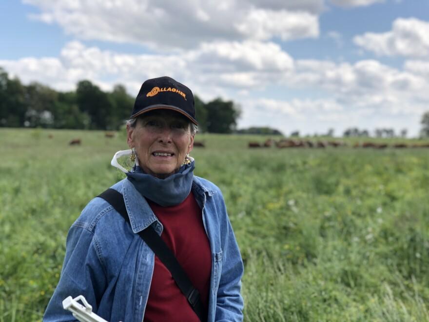 Debby Dulworth on her cattle farm near Money's Eyebrow, KY.